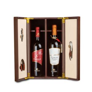Cofanetto in legno prestige - Due bottiglie con accessori