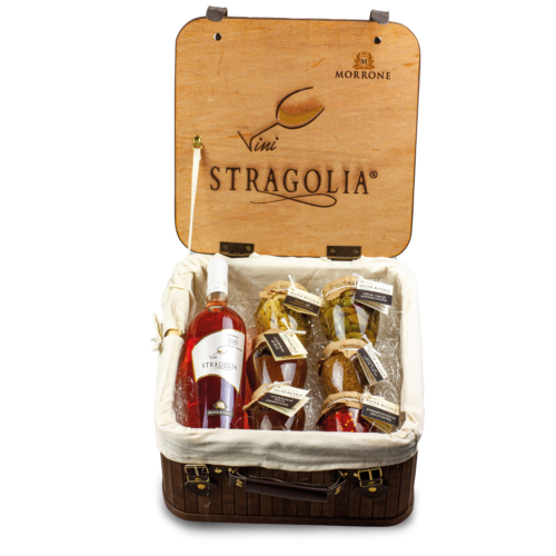 Valigetta vintage con Stragolia Rosato IGP e sei prodotti Azienda Agricola Morrone Davide