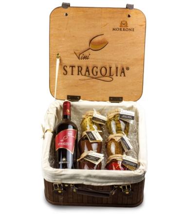 Valigetta vintage con Stragolia Rosso IGP e sei prodotti Azienda Agricola Morrone Davide