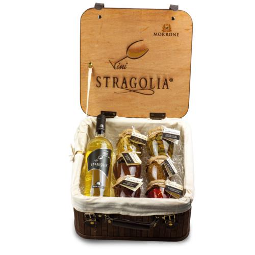 Valigetta vintage con Stragolia Bianco IGP 2019 e sei prodotti Azienda Agricola Morrone Davide
